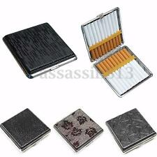 New Pocket Leather Metal Tobacco 20 Cigarette Box Smoke Holder Storage Case