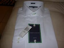 TOMMY HILFIGER MENS WHITE DRESS SHIRT 16-32/33 SLIM FIT MSRP $69 NEW W/ TAGS