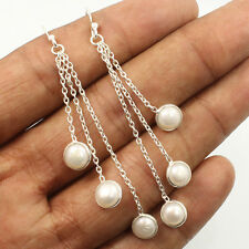 Natural PEARL Gemstones 925 Sterling Silver Jewelry Indian Fashion Huge Earrings