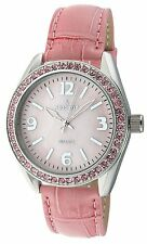 PEUGEOT Pink Swarovski Crystals Large MOP Pink Leather Strap Watch 3006 NEW $100