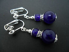 A PAIR OF PURPLE JADE  SILVER  PLATED DROP DANGLY CLIP ON  EARRINGS. NEW.