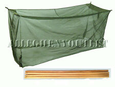 USGI Miltary MOSQUITO INSECT BAR COT NET NETTING w/ 4 Four Wooden Poles NEW