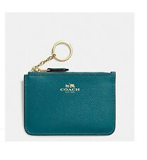 NWT Coach Crossgrain Leather Key Pouch Wallet F64064 TURQUOISE $65