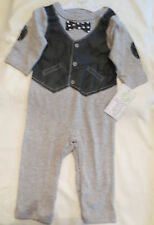 BABY GEAR Baby Boys Bow Tie Faux Leather Vest One Piece 6-9 Months NEW