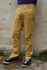 JECKERSON YELLOW CORDUROY Pants JEANS SLIM FIT STRETCH PATCHES W32 MADE IN ITALY