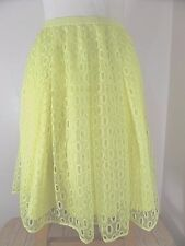 Maeve Anthropologie Skirt Women's 10 Pleated Yellow Lace Stretch Waist