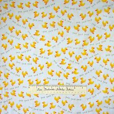 Baby Fabric - EIEIO Rubber Ducks on Gray Offwhite Nursery - Henry Glass 25""