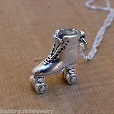 Roller Skate Charm Necklace -925 Sterling Silver- NEW Rink Skating Skater Retro