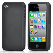 Black Silicone Rubber Gel Case Cover Protector Protection for Apple iPhone 4/4S