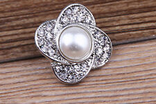 White Rhinestone Drill pearl Charm Chunk Snap Button fit for Noosa Bracelet GE53