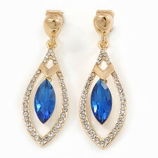 Exquisite Sapphire Blue Glass, Clear Crystal Leaf Clip On Earrings In Gold Plati