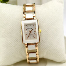Women Ladies Casual Quartz Bracelet Stainless Steel Square White Wrist Watch