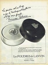 PUBLICITE ADVERTISING 115  1957  LANVIN  les poudres par PRINCESSE BIBESCO