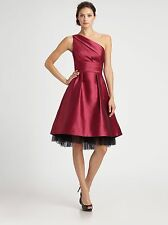 ML Monique Lhuillier Faille Hilo Berry Red One Shoulder Dress NWT Size 4 $448