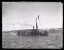 1920s Willard U Taylor Tug Boat & Barge Ship GLASS Old Photo Negative 310i