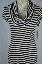 INC Womens Medium Black White Striped Cowl Neck Tunic Short Dress Short Sleeve