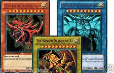 Legendary Collection Set of 3 Egyptian God Cards Slifer,Obelisk, Ra ygld YuGiOh