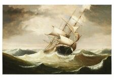 Postcard Fitz Henry Lane Three Master in Rough Seas Ship Cape Ann Museum MA MINT