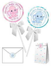 40 PINK OR BLUE ELEPHANT BABY SHOWER FAVORS STICKERS for lollipops, goodybags
