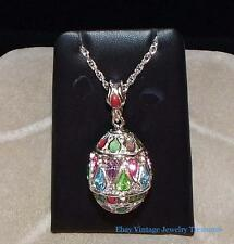 Vintage Joan Rivers Pastel Crystal Stained Glass Enamel Egg Pendant Necklace