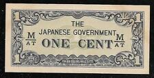 Malaya Japanese Invasion Money 1 Cent 1940's WWII Fractional M/AT Block
