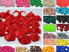 NEW 10/50/100PCS 25MM Satin Ribbon Rose Flowers DIY Craft Wedding Appliques #