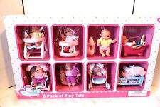LOVELY BABY 8 PACK OF TINY TOTS DOLLS with ACCESSORIES BATH HIGH CHAIR 3+ NIB
