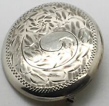 Burkhardt For Birks Sterling Silver Brooch Pin  Oval  Floral Ornate Chased