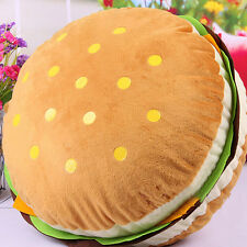 Cute Hamburger Bolster Toy Pillow Case Plush Cushion Round Creative Gift