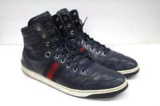 Gucci Hi-top Sneakers Signature Web Trim Navy Blue Leather 221825 -SZ 12G/13US