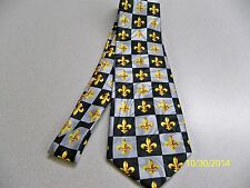 Black, gr + gold, Fleur de lis, NFL football New Orleans Saints men's necktie #8
