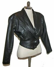【CUTE】Vintage 80's CHIA Crop Fit Distressed Leather Fashion Jacket! XS~FREE SHIP