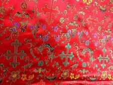 "MULTICOLOR RED  METALLIC  CHURCH BROCADE FABRIC 45""WIDE  3 YARD"