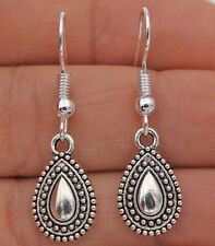 "925 Silver Plated Hook -1.3"" Vintage Waterdrop Type Women Bohemia Earrings #04"