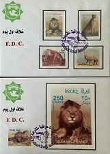 Iraq Stamps -2 FDCs-2002- Animals - Complete Set Of Five Stamps And A S/Sheet