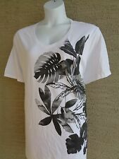 NEW Just My Size graphic scoop neck tee shirt white & glitzy Palm Leaves 5X