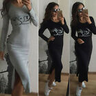 Womens Autumn Winter Slim Long Sleeve Bodycon Stretch Sweater Casual Party Dress