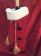 FLAWLESS Exceptional CHRISTMAS Red Gold SANTA Suit Bottle WINE CHAMPAGNE Cover