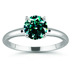 2.57ct SI1/BLUE GREEN REAL MOISSANITE & NATURAL BLACK DIAMOND .925 SILVER RING