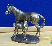 Bronze MARE AND FOAL  Horse Sculpture Figurine Ornament Statue  by David Geenty