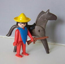 PLAYMOBIL (B4134) WESTERN - Klicky Mexicain & Cheval Vintage 3484 Mains Fixes