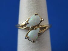 Vintage 14k Yellow Gold Ring With Two Opals Size 4 3/4