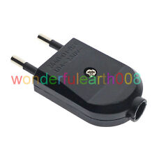 2 x Europlug EU Type C 4mm Pin Rewireable Power Plug Max AC 250V 10A Black Color