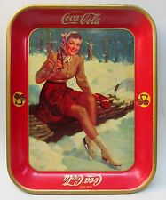 original 1941 COCA COLA Ice Skater tin litho serving tray REAL NICE!