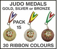 PACK OF 15 (0.75p each) Judo Medals Budget & Ribbon Metal 50mm Ref: GMM7050-MR1