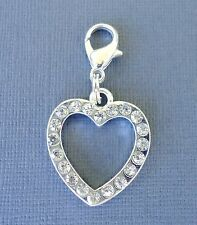 Heart Clear Crystal Clip On Charm with Lobster Clasp Fits Link Chain S18