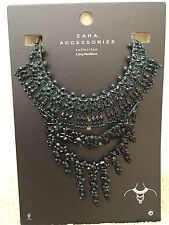 NWT ZARA GREEN BLACK JEWEL PENDANT STATEMENT NECKLACE