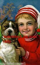 Vintage Christmas Art~ PIT BULL TERRIER DOG~DOGS~Cute Boy~NEW Large Note Cards