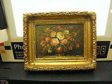 Vintage Floral Vase And Flowers Gold Wood Frame Hand Painting Art Loug #1