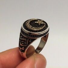 Ottoman Jewelry Islamic Star and Crescent Zircon 925K Sterling Silver Men's Ring